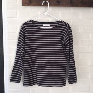 Everlane Black/Grey Striped Top - small